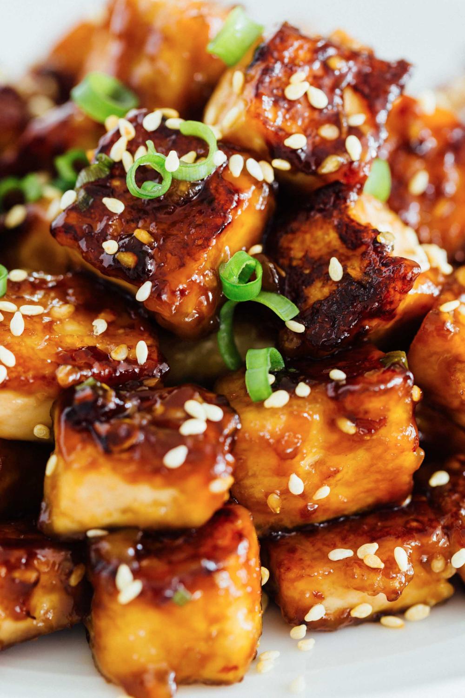 Pan-Fried Sesame Garlic Tofu - Tips for Extra Crispy Pan-Fried Tofu -   18 healthy recipes Shrimp tofu ideas