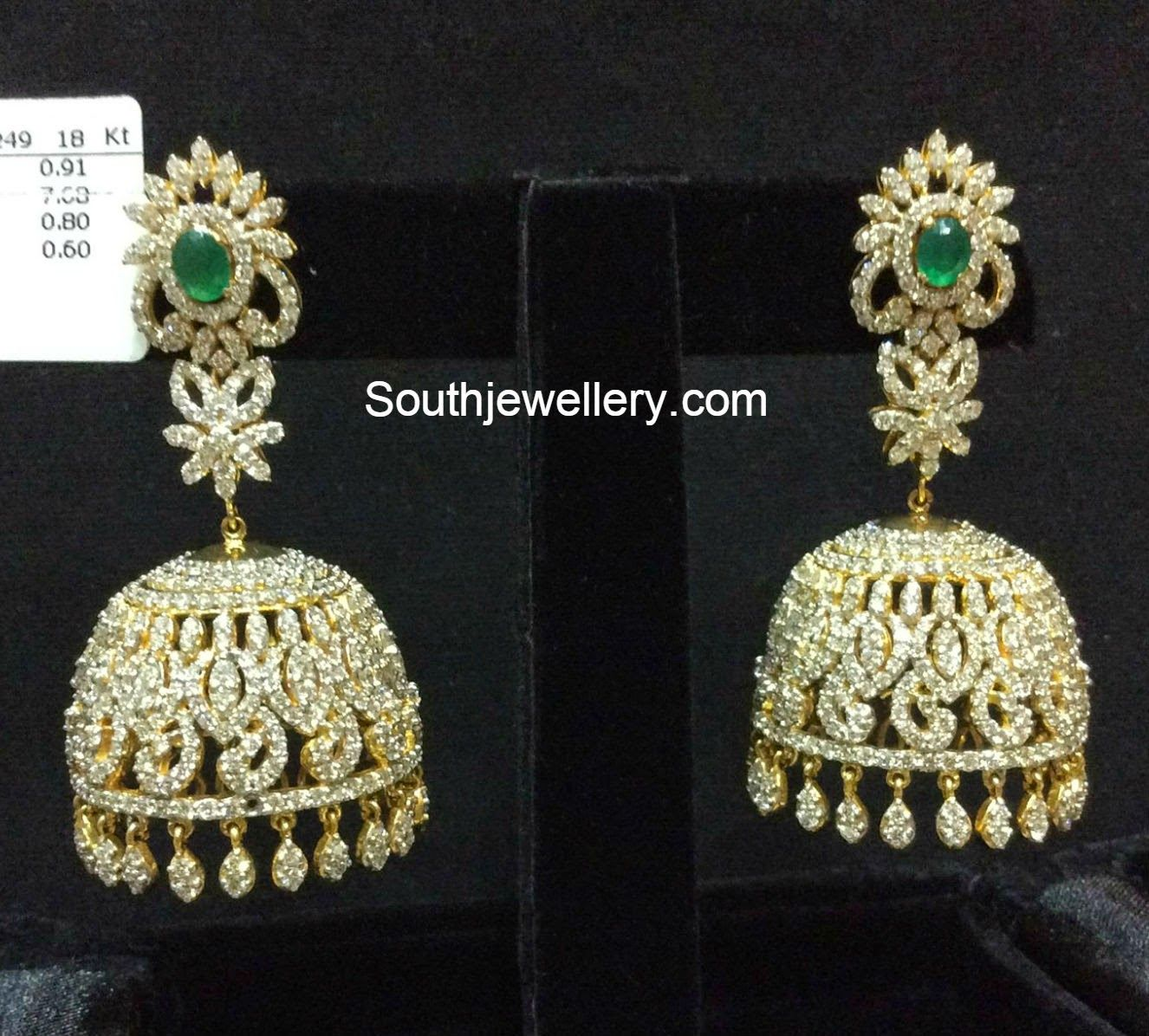 Diamond jhumkas jewellery pinterest diamond ear rings and