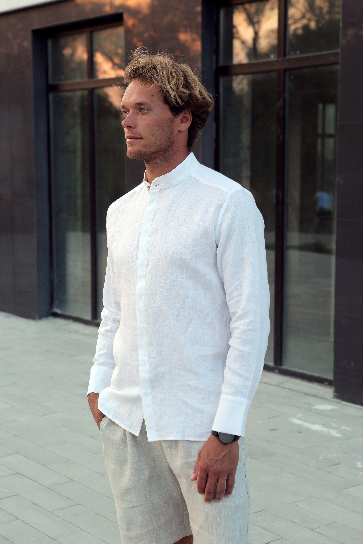 Mens Linen Shirt Dress Shirt White Shirt Wedding Linen Etsy Mens White Linen Suit Linen Shirt Men Linen Shirt [ 3000 x 2000 Pixel ]