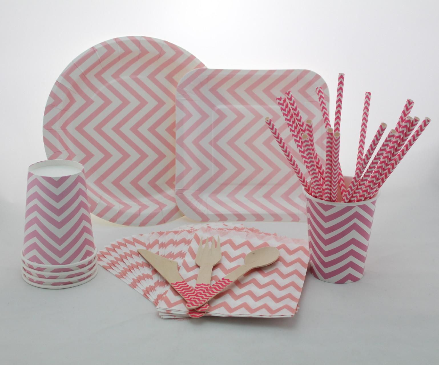 Round And Square Paper Plates Lt Pink Chevron Party Supplies Birthday Party Paper Cups Paper Straws Paper Bags Wooden Forks Knifes Spoons Online with $0.21/Piece on Paperstraws's Store | DHgate.com