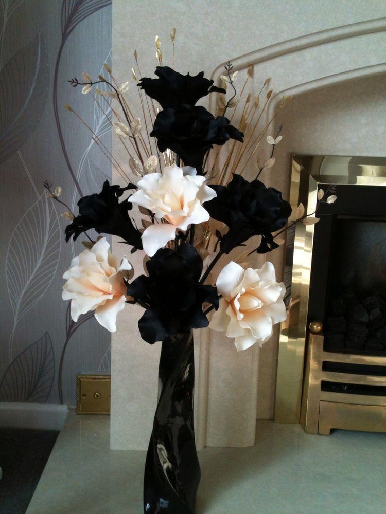 Artificial silk flower arrangement black cream gold in