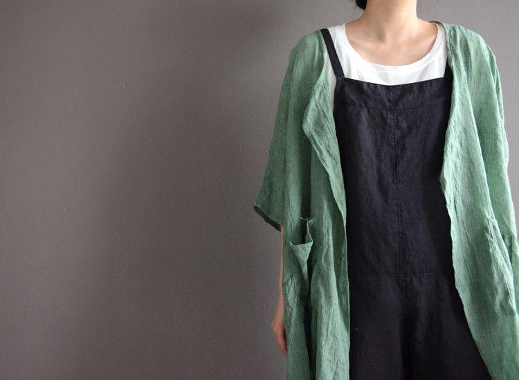 Loose linen black overalls   #linen #dress #pants #loosepants #linendress #overalls #black