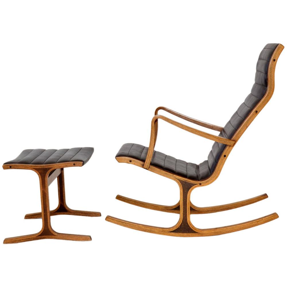 """""""Heron"""" Rocking Chair and Ottoman by Mitsumasa Sugasawa"""