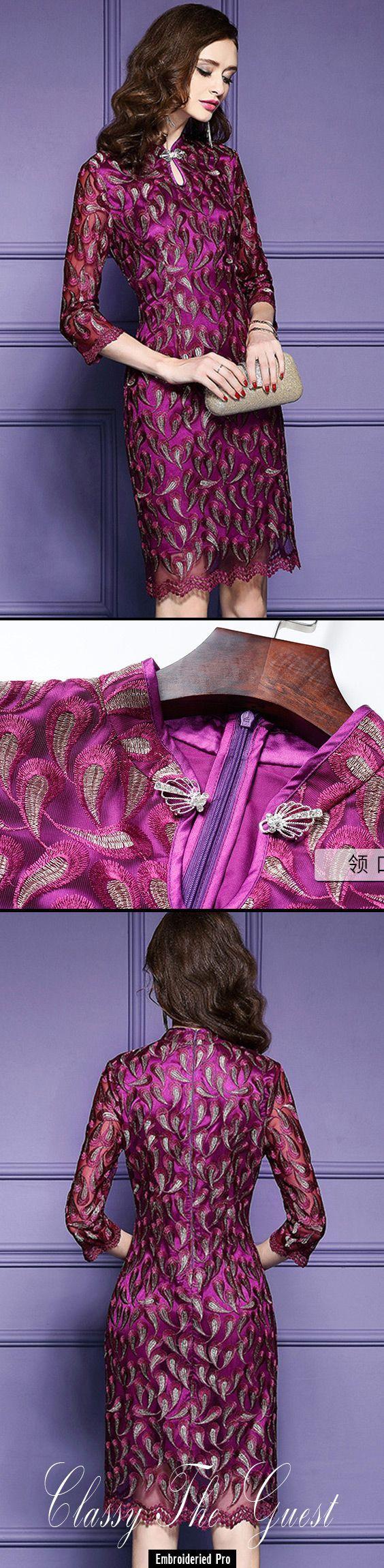 Hochzeitsgast Kleider Retro High Neck Qipao Stil Kleid für ...