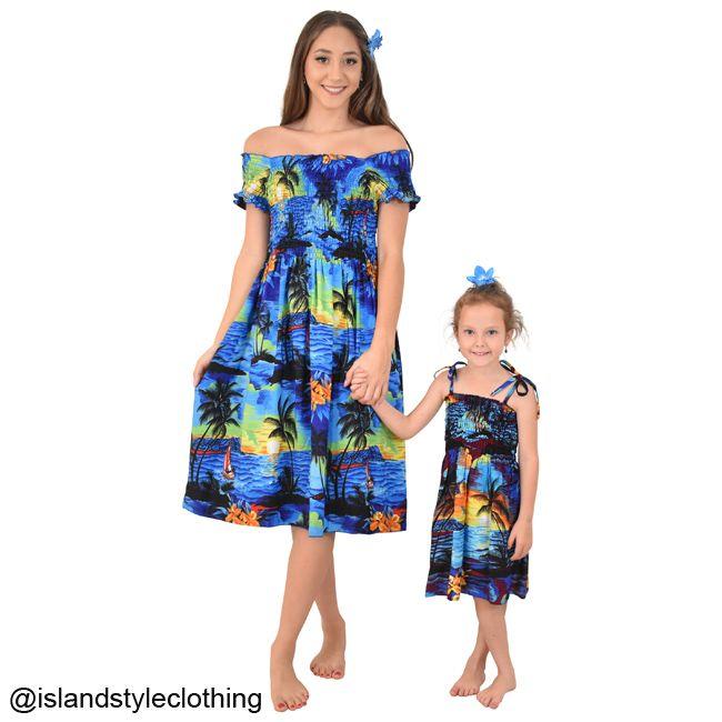 5d8049a1917d Sweet Mother & Daughter matching dresses. Blue Sunset Hawaiian Print. For  beach parties, cruising, christmas, luaus and more. Hawaiian Clothing Set  ...