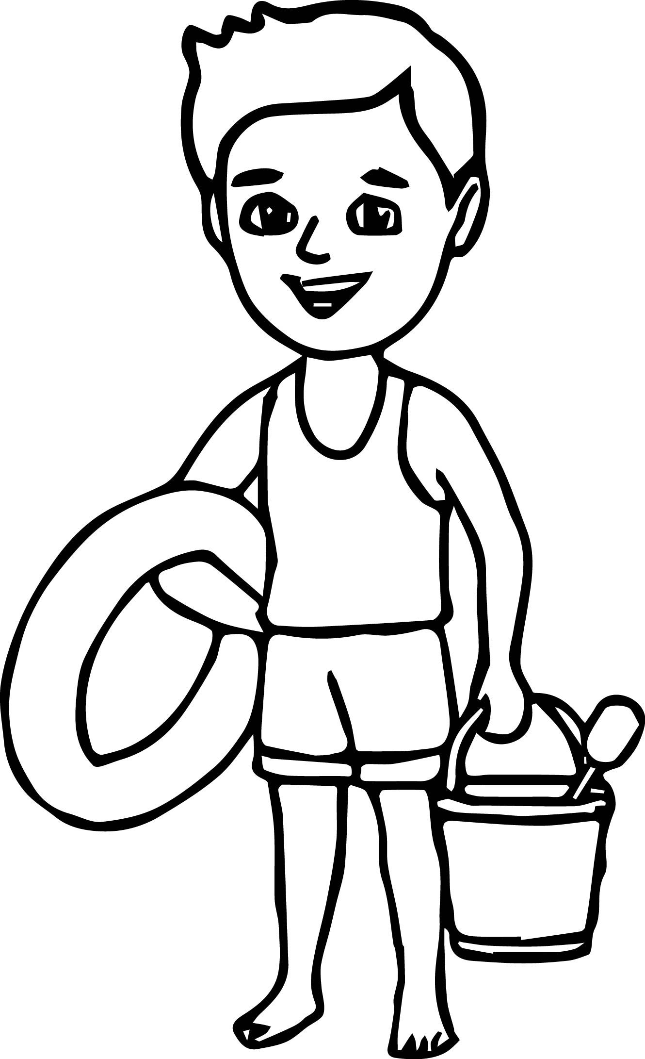 Boy On The Beach Coloring Page