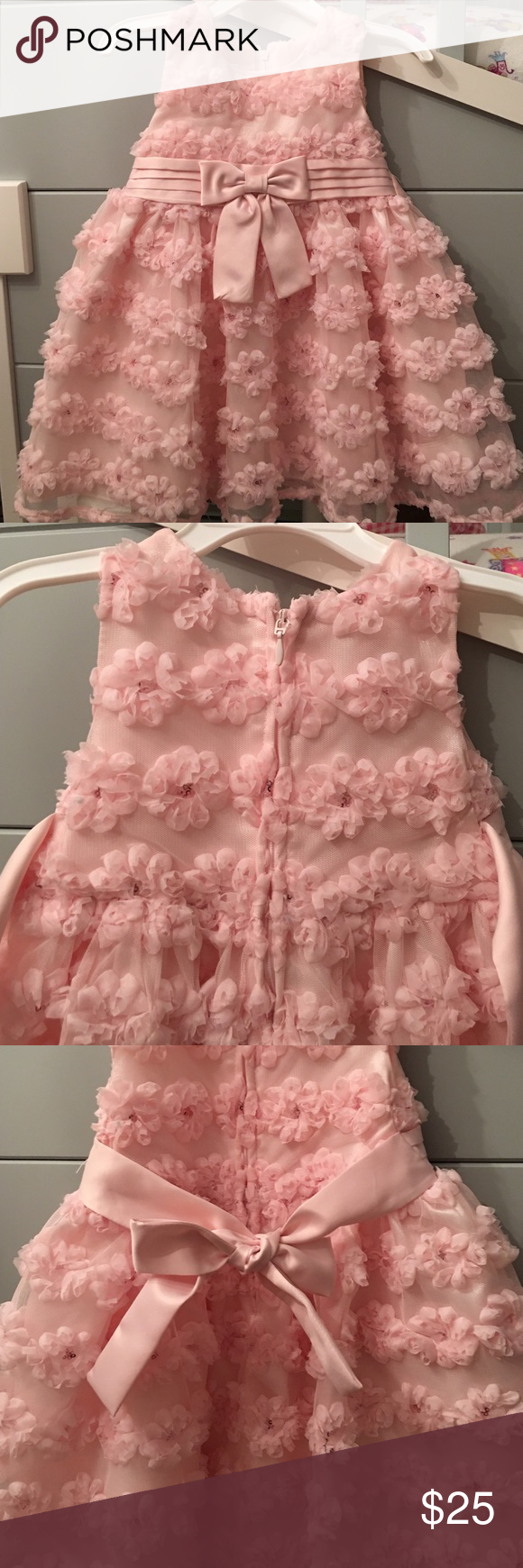 Pink floral toddler dress Pink bow and flower sequence dress iris & ivy Dresses Formal