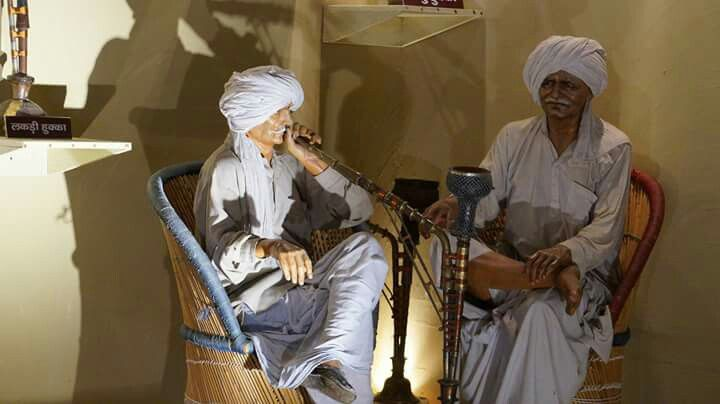 Two Old Haryanvi Men Enjoying Hookah Rajasthani Art Culture