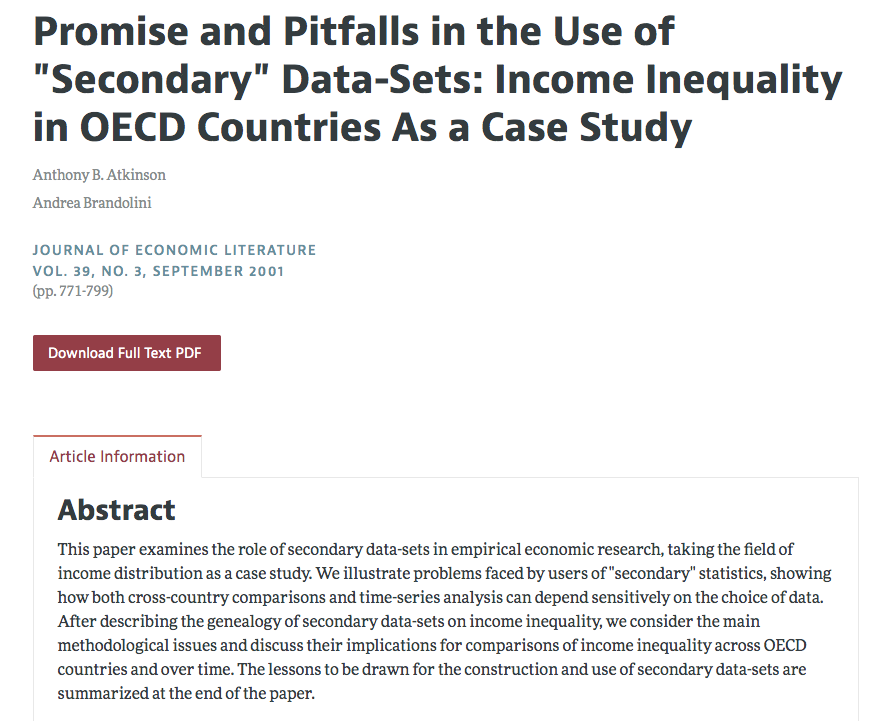 Atkinson A B And A Brandolini 2001 Promise And Pitfalls In The Use Of Secondary Data Sets Income Inequality In Oe Secondary Data Case Study Inequality