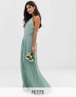 3e033b70429 TFNC Petite bridesmaid exclusive high neck pleated maxi dress in sage in  2019