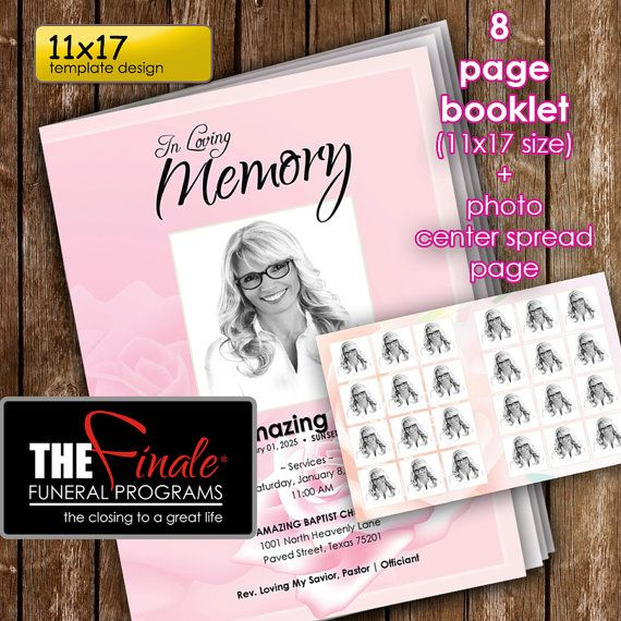 11x17 (8page Booklet) PINK ROSE (printable funeral program - booklet template microsoft word