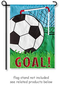 """Soccer Goal Garden Flag from Evergreen's Appliqué Flags . The design appears the same on both sides of the flag, """"GOAL!"""" reads correctly from both sides as well. @justforfunflags"""