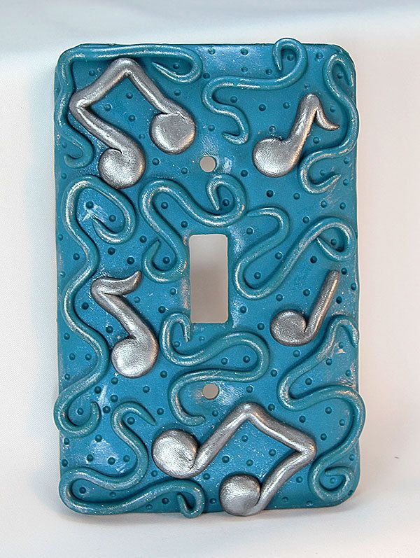 Polymer Clay Light Switch Cover Toggle Switch Plate Music Light Switch Cover Teal Switch Plate Tea Polymer Clay Crafts Light Switch Covers Polymer Clay