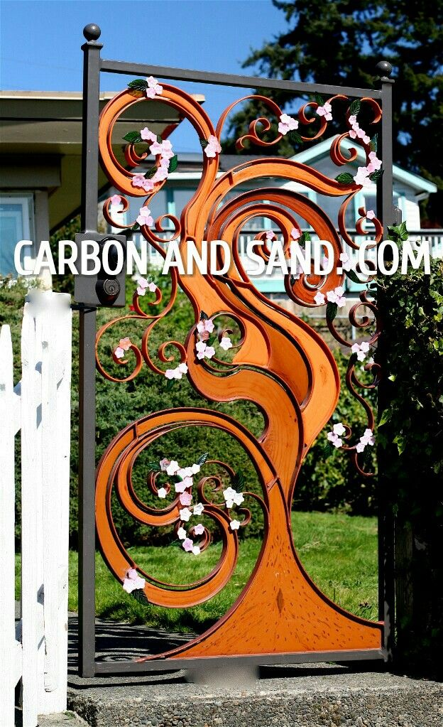Wrought Iron Japanese Cherry Tree Garden Gate With Images