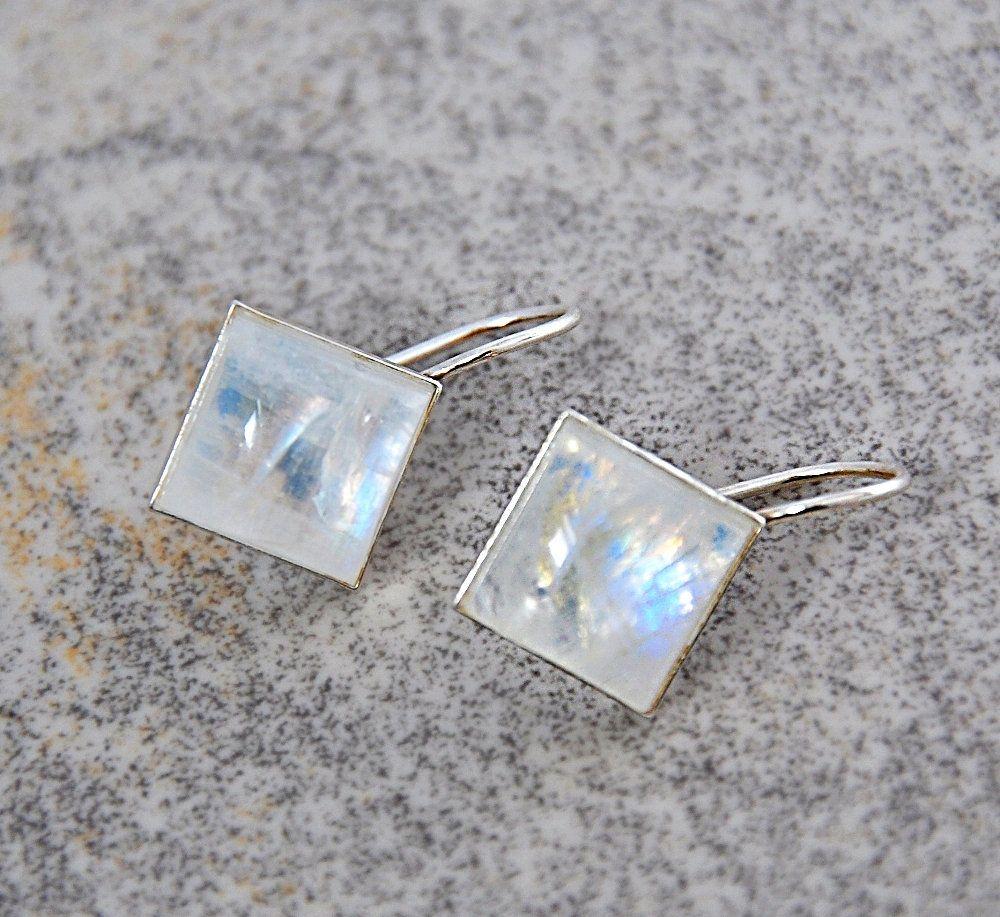 silver earrings, sterling silver earrings gemstone earrings hoop earrings with charm raw crystal earrings moonstone earrings