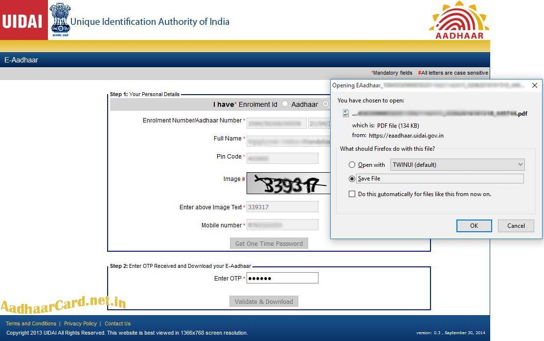 Downloaded Aadhaar By Aadhaar Number Aadhar Card Card Downloads One Time Password
