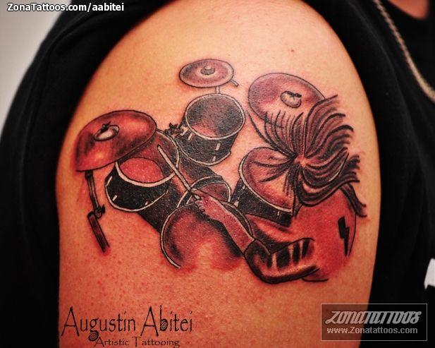 Band Drums Tattoo Design On Shoulder
