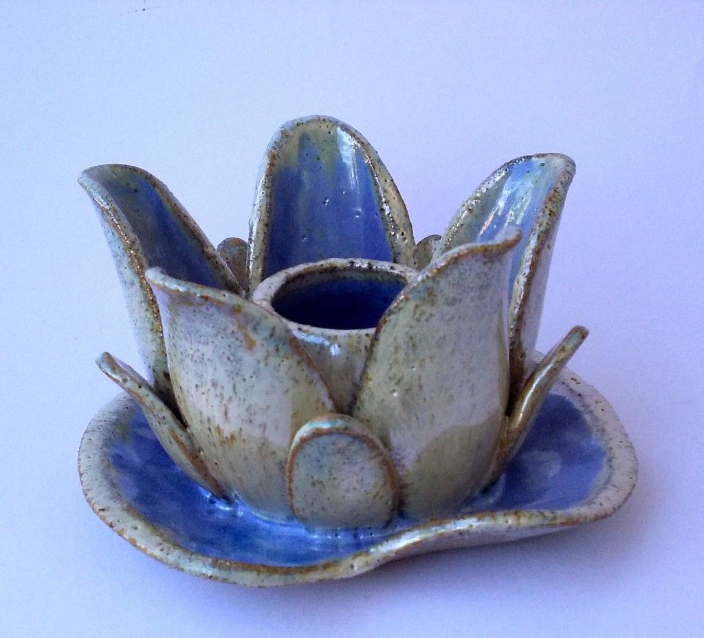 Lotus Flower Ceramic Candle Holder Like Water Lil Try Handmade