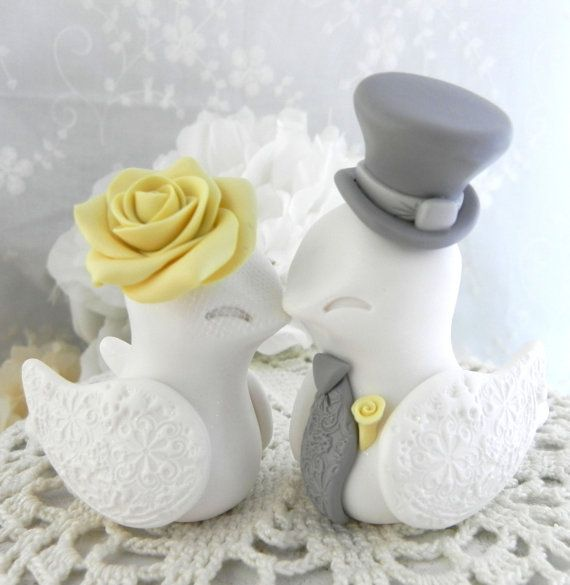 Love Birds Wedding Cake Topper White Yellow And Grey By Lavagifts