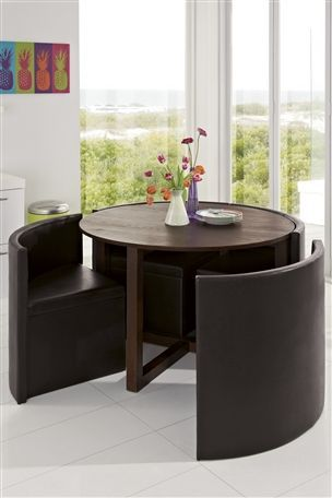 Next Hideaway Dining Set Dark Stained Ash Table Brown Leather