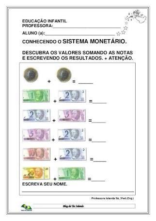 Resultado De Imagem Para Atividade Escolar Sistema Monetario Com