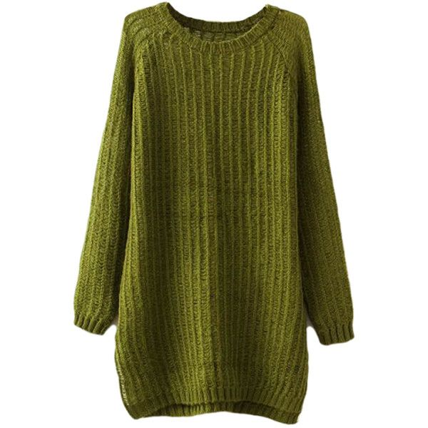 Green Charming Ladies Slit Plain Pullover Long Sweater ($24) ❤ liked on Polyvore featuring tops, sweaters, green, pullover tops, pullover sweaters, slit sweater, long pullover sweater and green pullover sweater