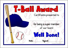 T ball award certificates sb8030 sparklebox baseball t ball award certificates sparklebox toneelgroepblik Image collections