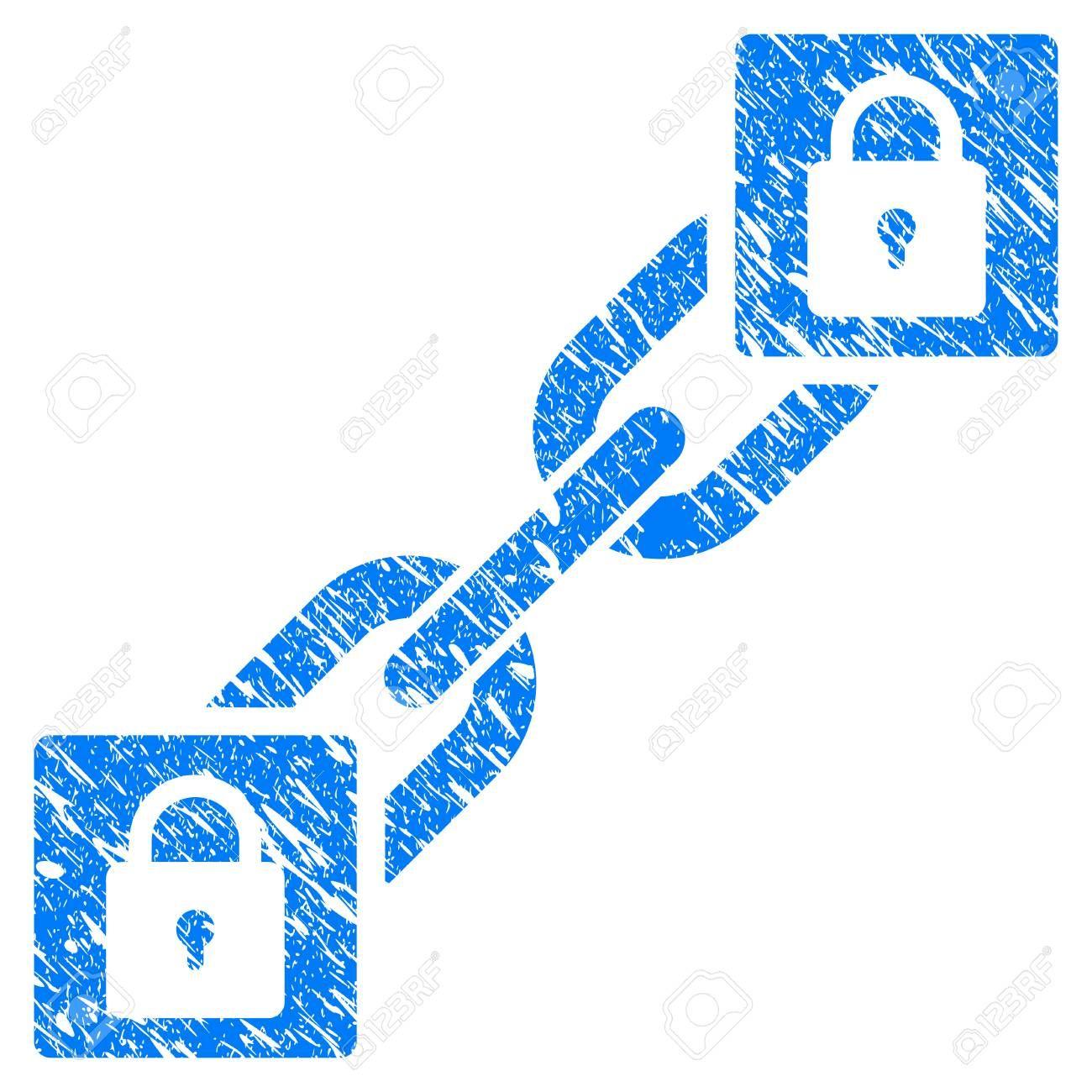 Grunge Lock Blockchain rubber seal stamp watermark. Icon