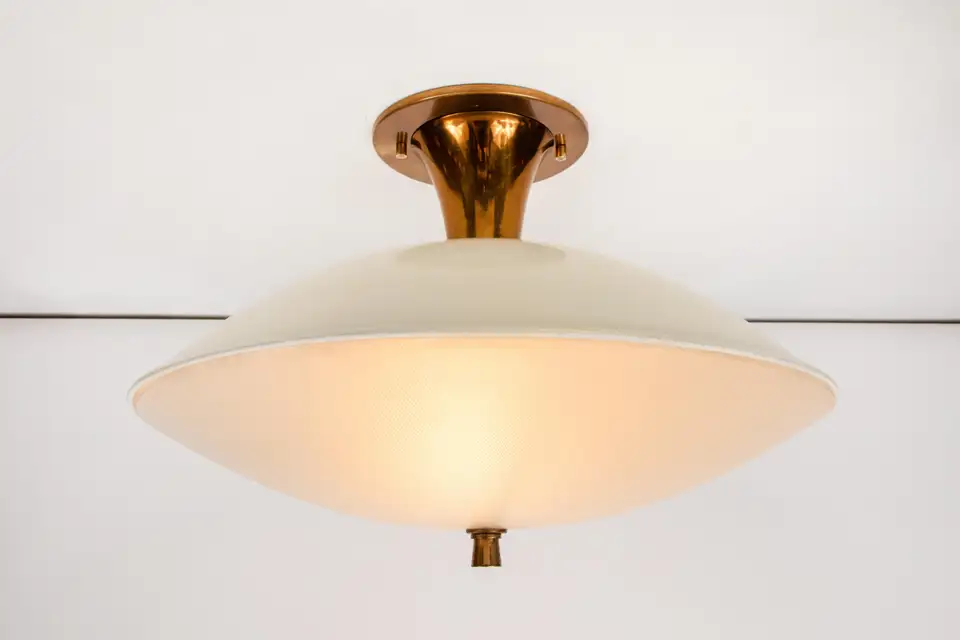 1950s Flushmount Ceiling Light By Oscar Torlasco For Lumi In 2020 Ceiling Lights Glass Texture Ceiling