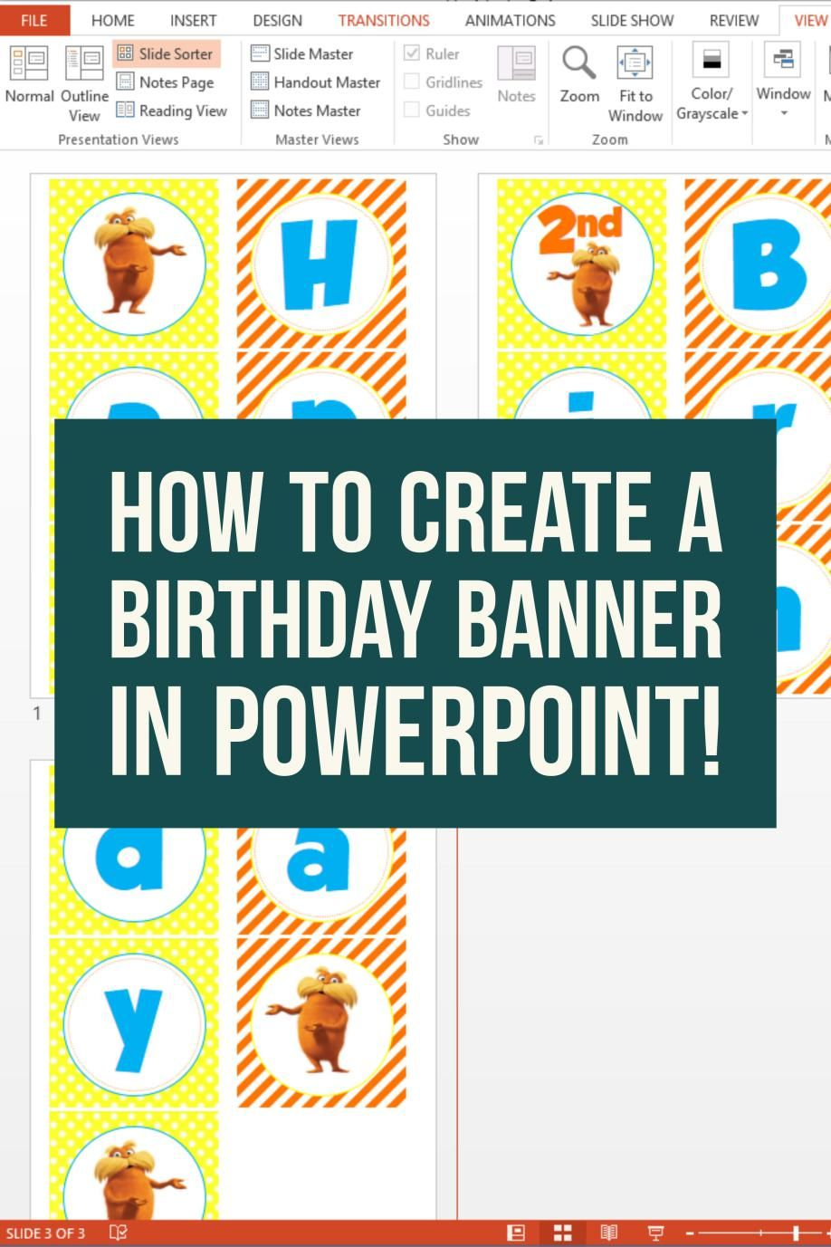 how to create a birthday banner using powerpoint toddler birthday
