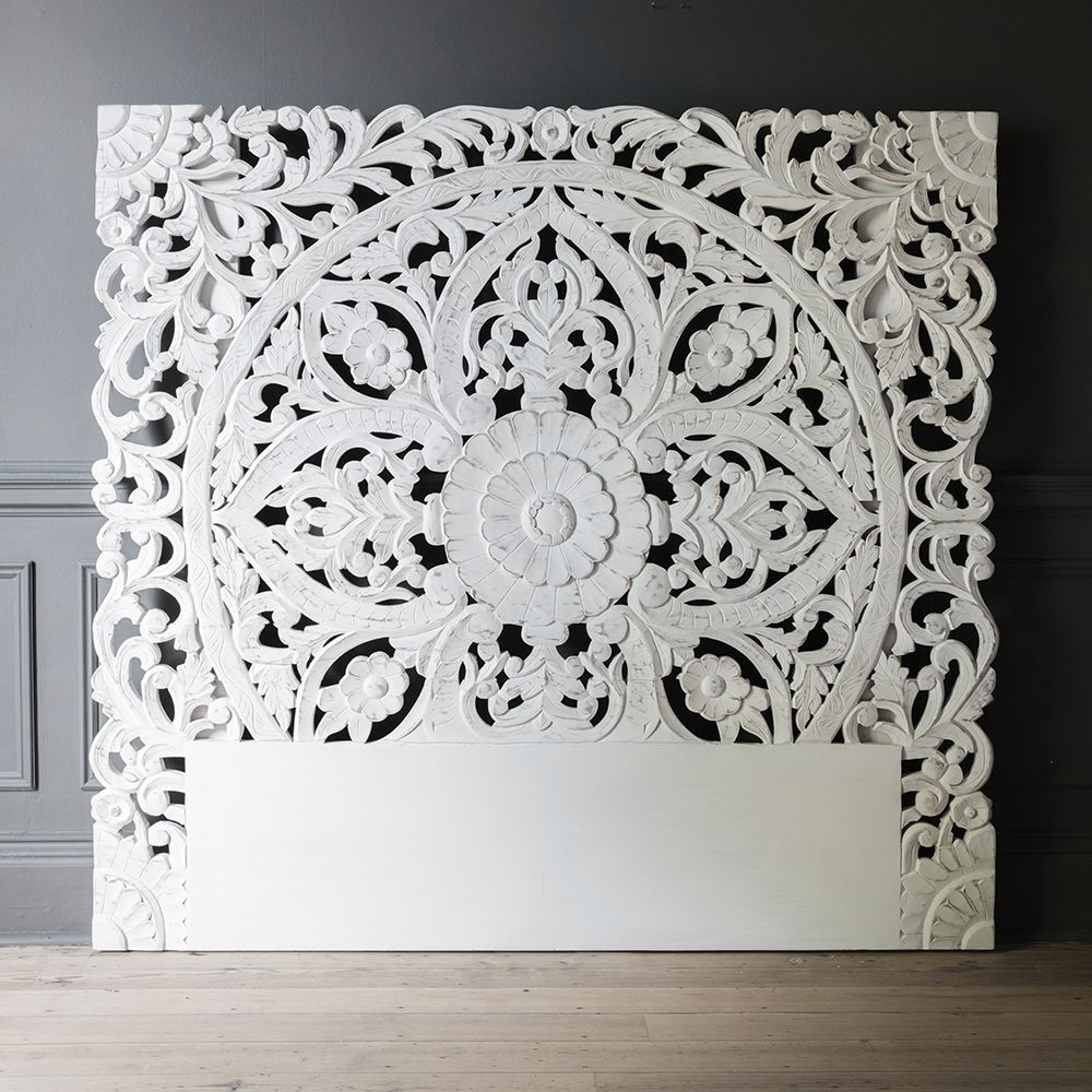 Atika White Carved Headboard Double Bed Headboard Atkin And Thyme Carved Headboard Headboards For Beds Wooden Wall Panels
