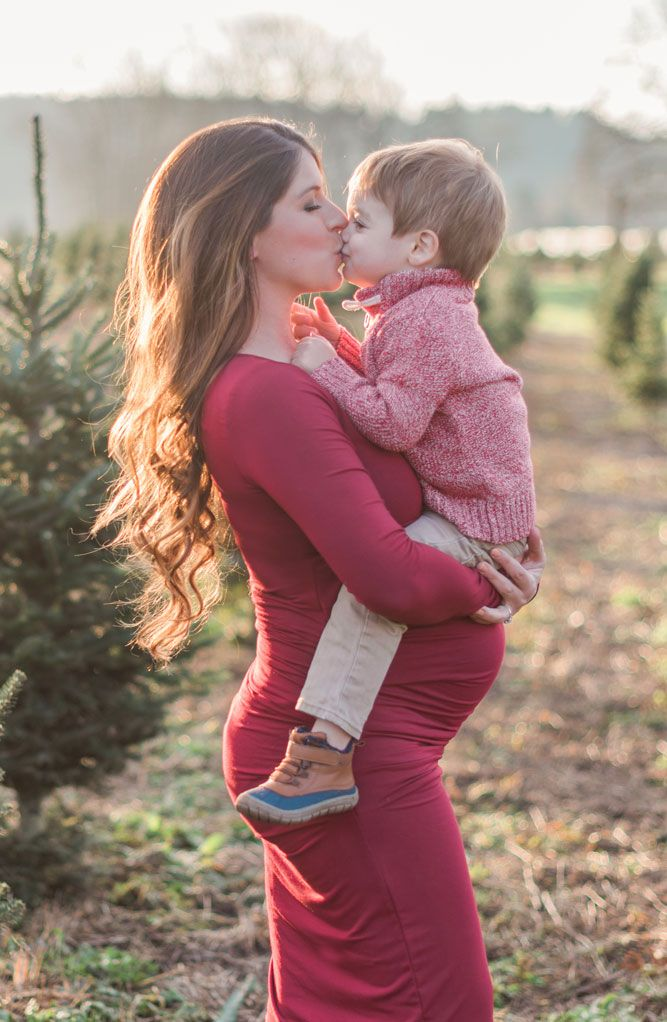 1d020c707a9 Ingrid   Isabel Long Sleeve Pleated Maternity Dress (Crimson)