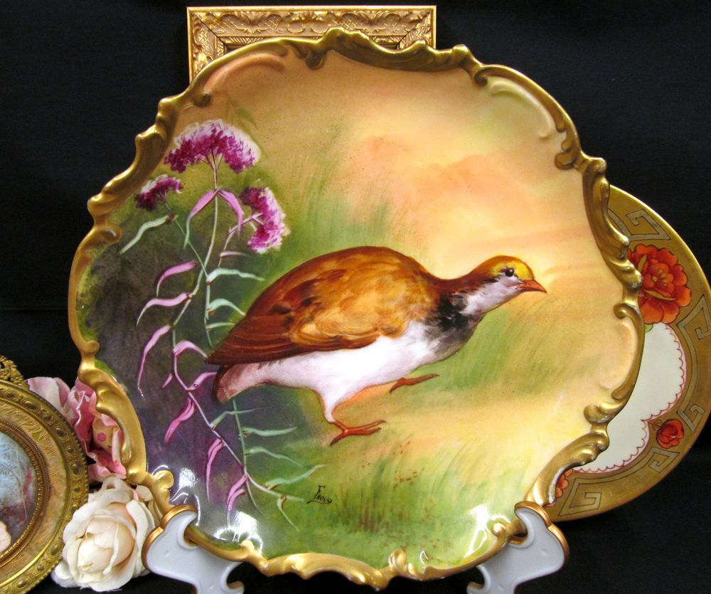 CORONET LIMOGES HAND PAINTED BIRD PLATE ARTIST SIGNED PLATE ROCCO ...
