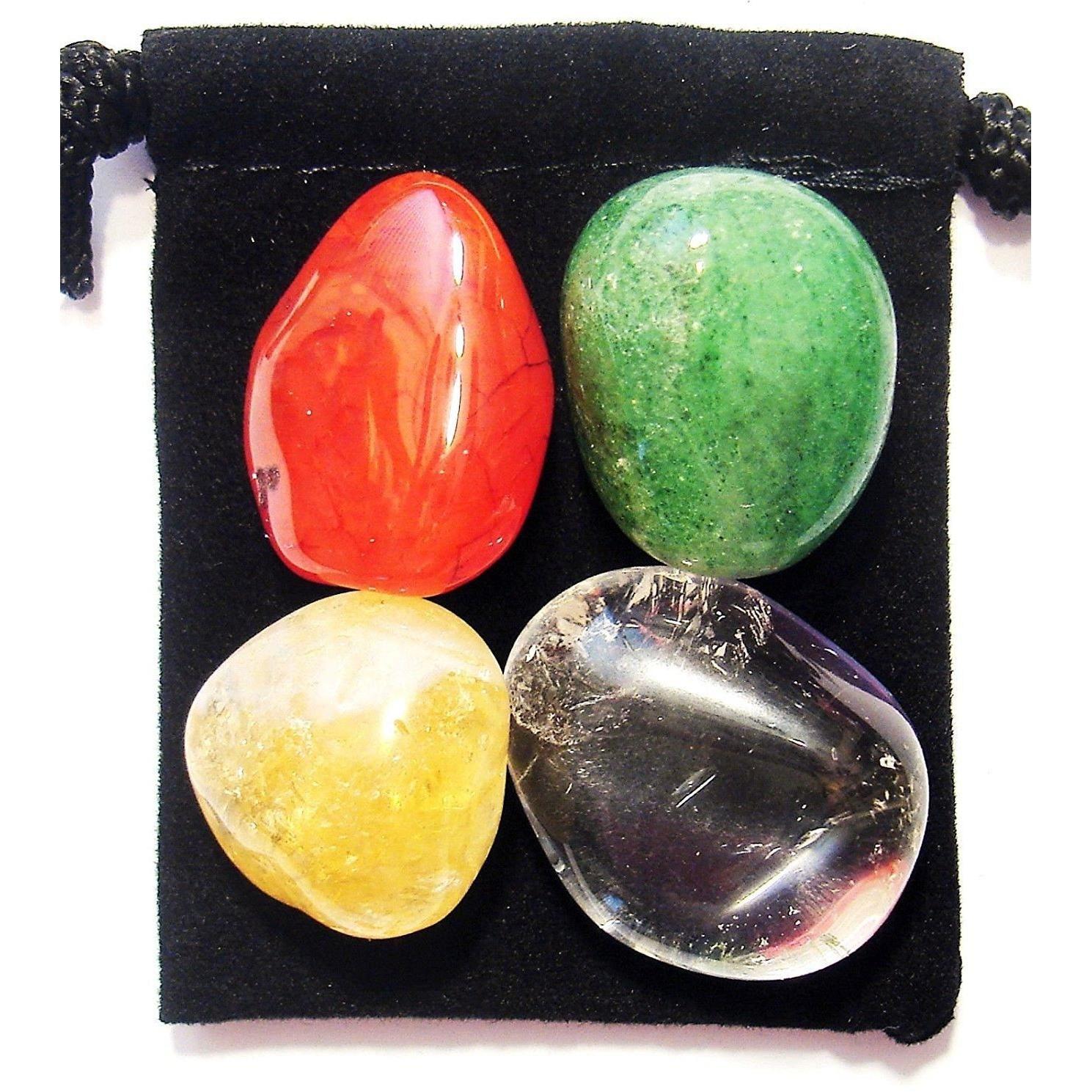 Pouch FERTILITY HELP Tumbled Crystal Healing Set = 4 Stones Description Card