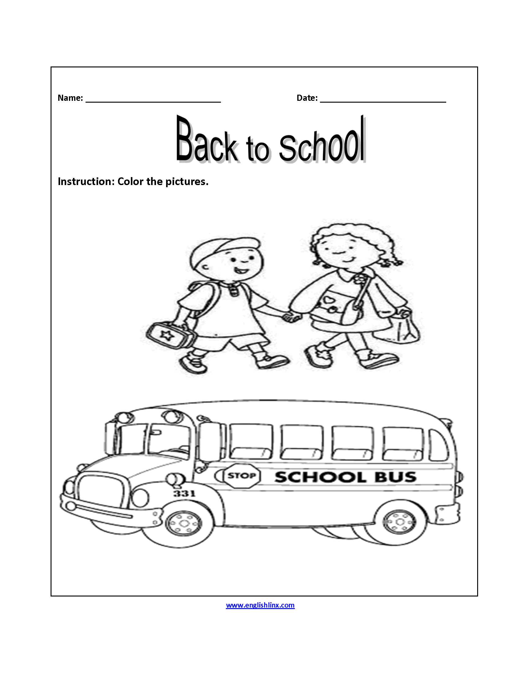 Color Pictures Back To School Worksheets