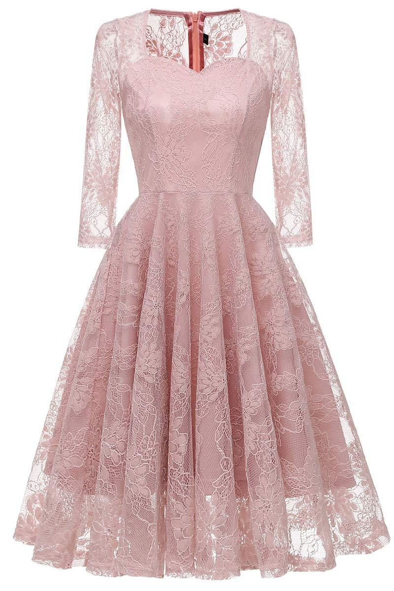 Chic Pink Lace A-line Prom Dress With Long Sleeves ...