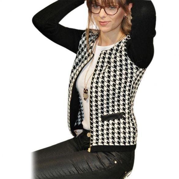 Stylish Women Zipper Plaid Stitching Long Sleeve Slim Casual Outwear Top Coat Jacket