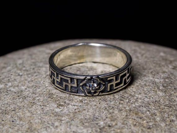 Svadebnik Sterling Silver Viking Celtic Wedding Band Ring
