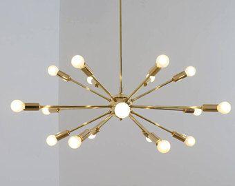 Mid Century Modern Polished Br Sputnik Chandelier Light Ing 18 Arm Bulbs 32inch Diam