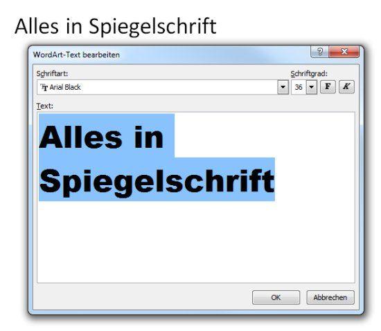 Word Spiegelschrift