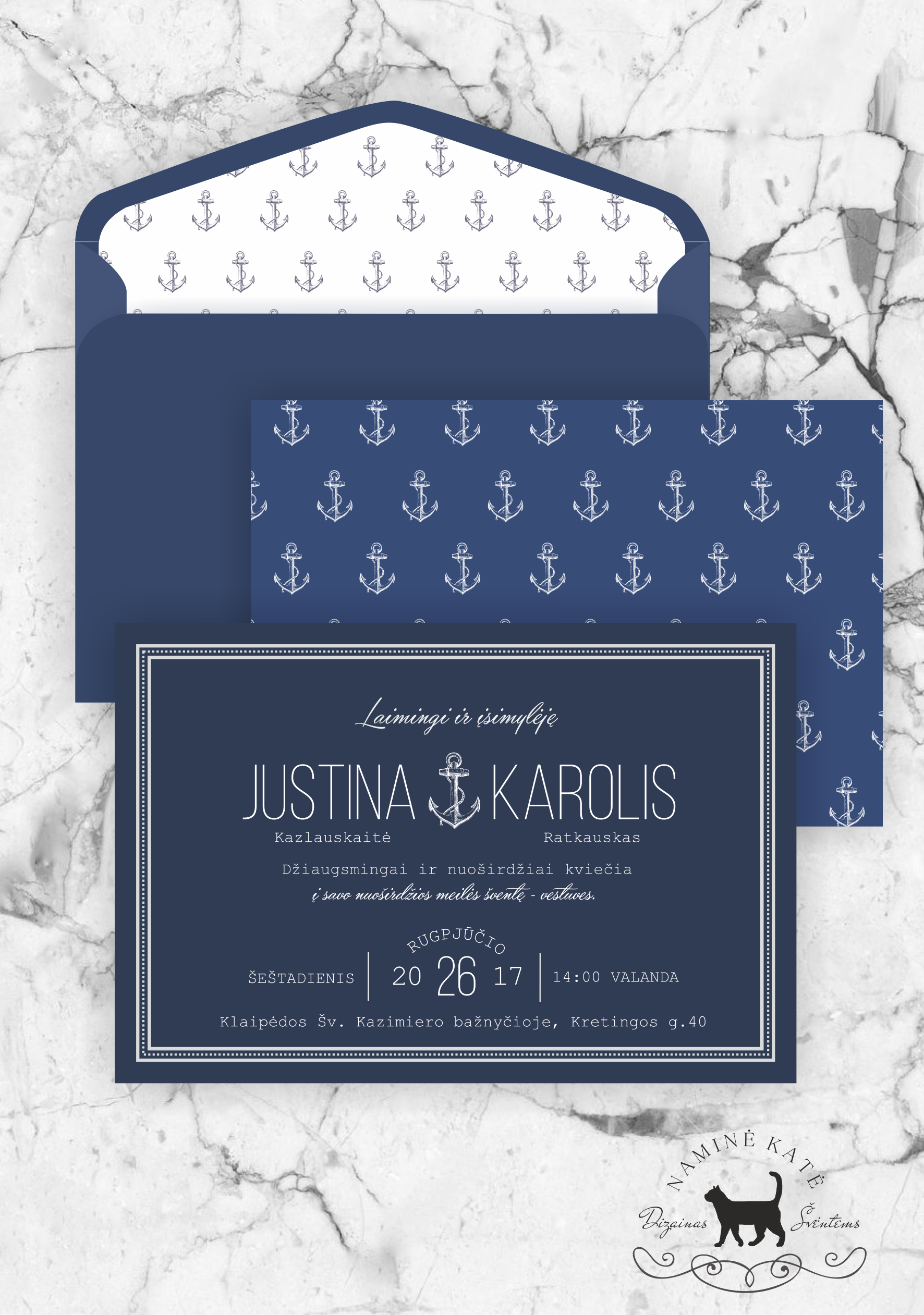Marinistic Style Invitation Solid, Romantic Invitation For Weddings On The