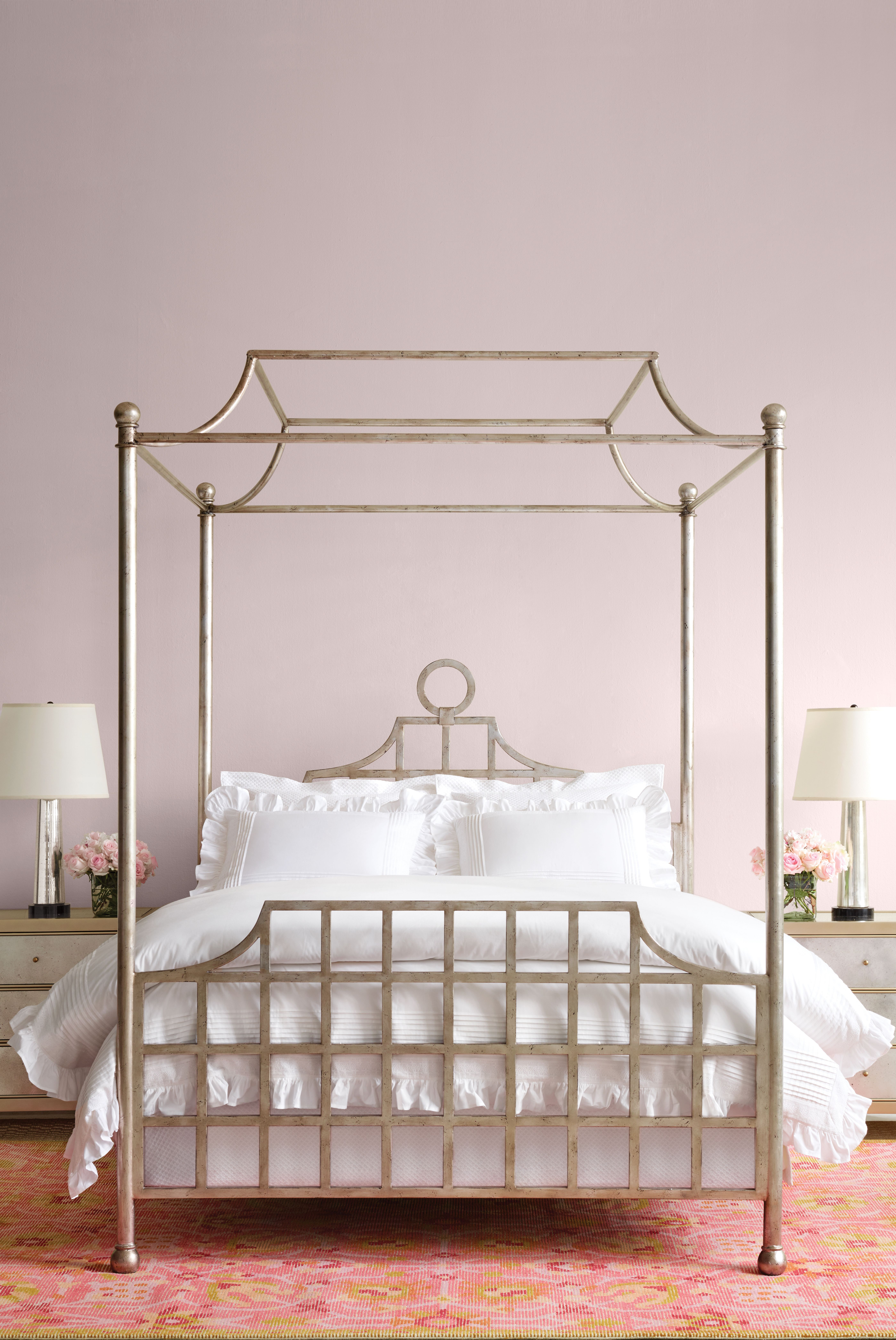 Atlas Canopy Metal Bed Silver Finish Furniture White