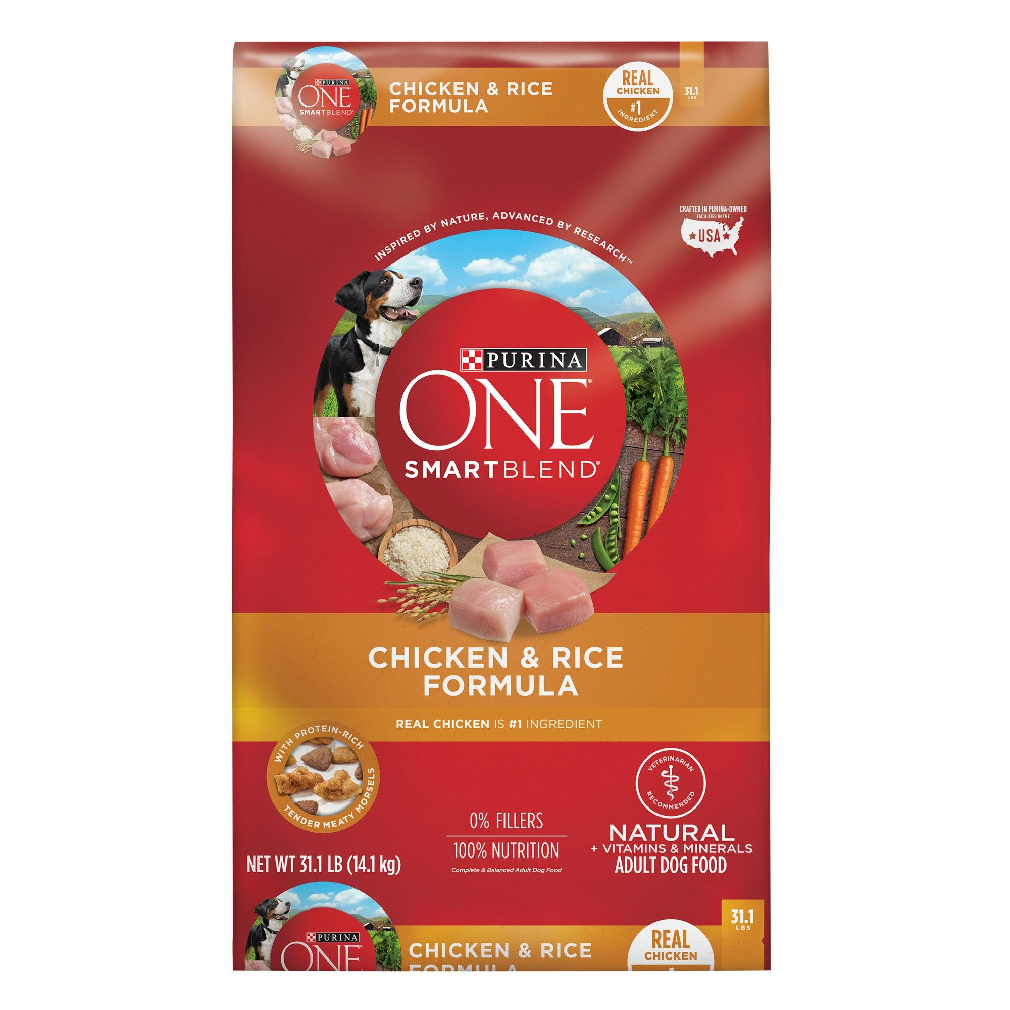 Purina One Adult Smartblend Chicken Rice Dry Dog Food 31 1lbs