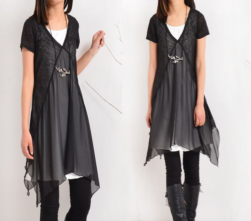 Transparent Meditation - zen layered tunic dress (Q1505) by idea2lifestyle on Etsy https://www.etsy.com/transaction/1149609193