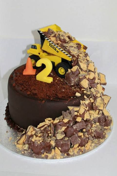 Birthday Cake With A Dump Truck Full Of Violet Crumble By South East