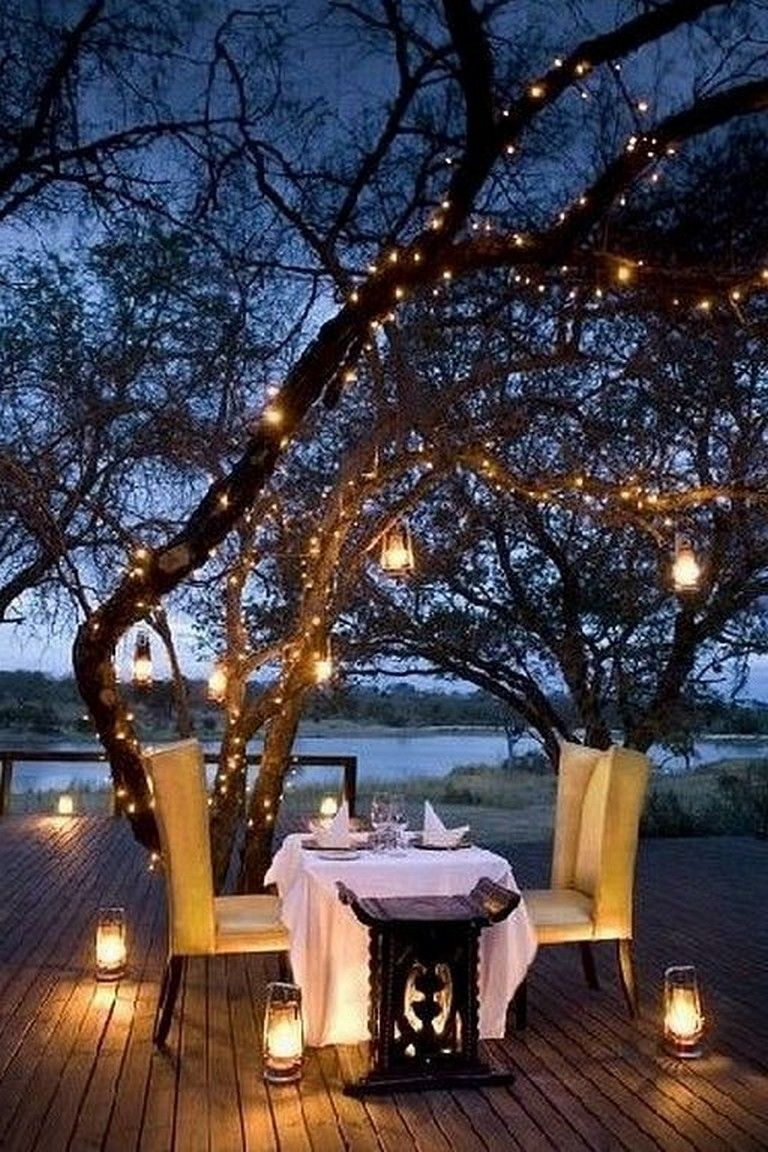 23 Marvelous Outdoor Garden Fairy Lighting Decorating Ideas Romantic Backyard Candle Light Dinner Romantic Date Night Ideas