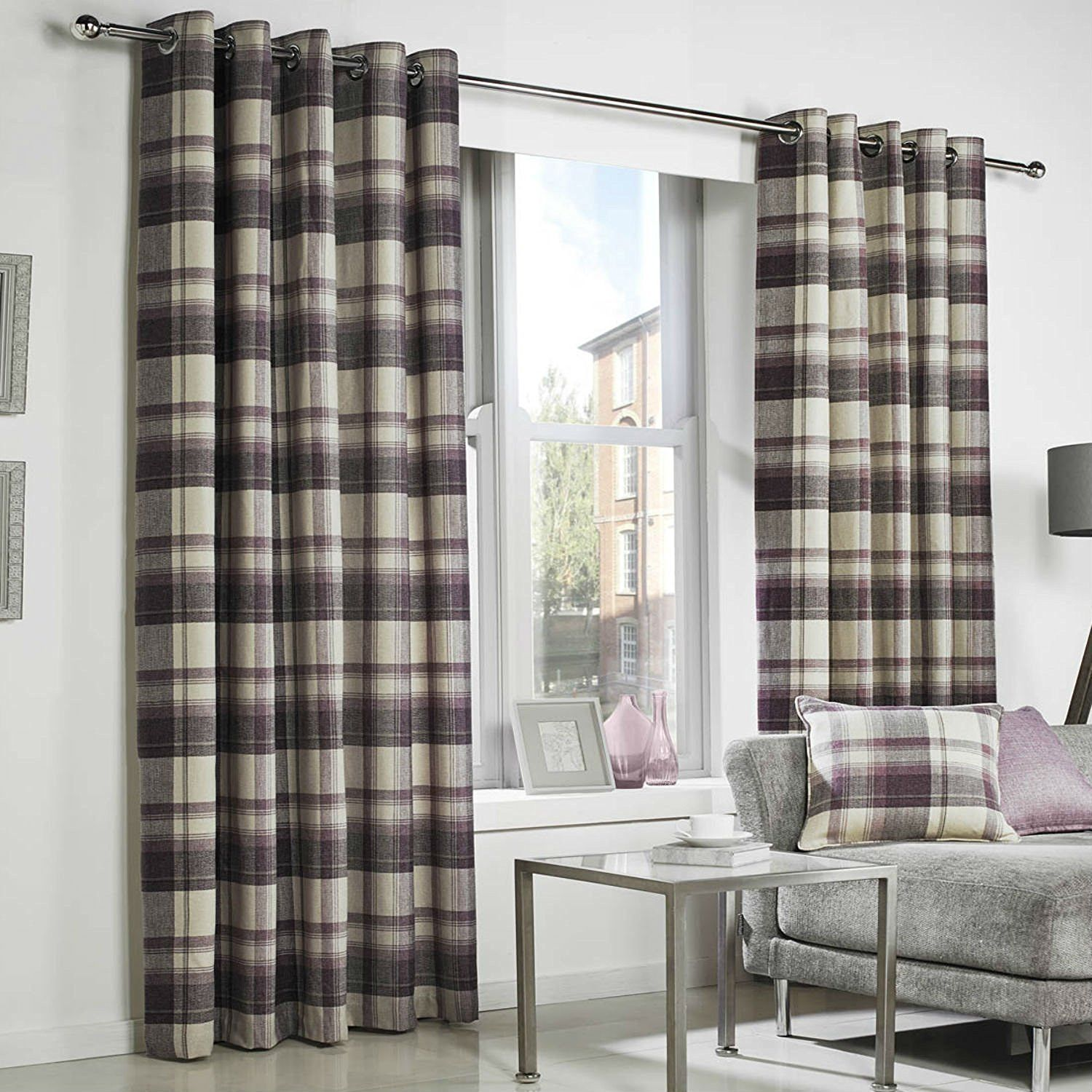 Windsor teal eyelet curtains harry corry limited - Purple Tartan Check Curtains Highland Plum Plum Purple Natural Beige Eyelet Ring Top Cushion Covers