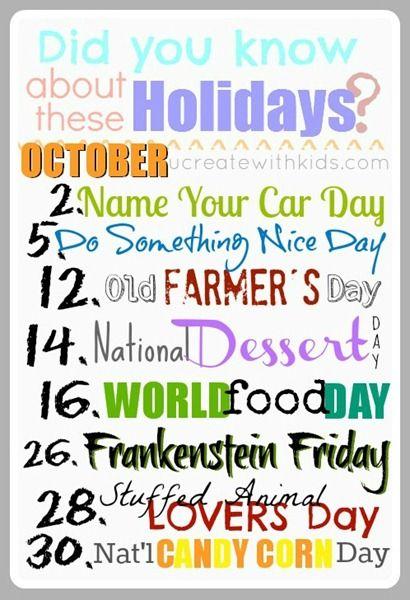 Crazy Holidays October Weird Holidays Wacky Holidays Special Day Calendar