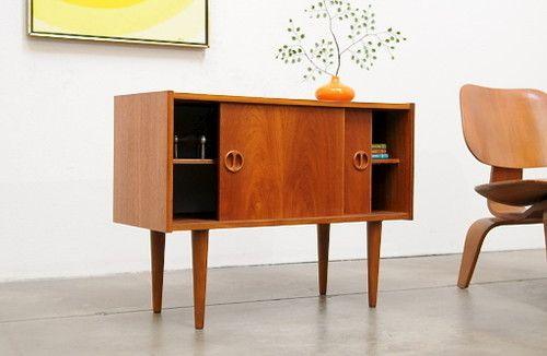 Credenza Danese Vintage : Danish modern teak petite credenza entry chest mid century vintage