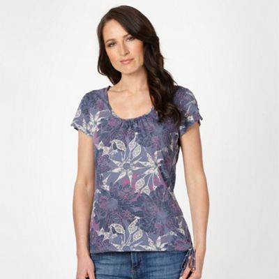 Navy floral printed scoop neck t-shirt at debenhams.com